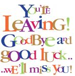 Leaving Card - Good Bye Good Luck - Large Glitter Text Ling Design