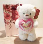Standing Bear Soft Toy - Mum Pink - Mothers Day - Heart - Keel - Free Gift Bag