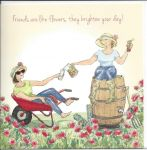 Birthday Card - Friend - Flowers Wheelbarrow - Angie Thomas