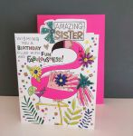 Birthday Card - Sister Flamingo - Glitter Die-cut - Cherry on Top