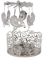 Silver Metal Tealight Holder with Birds