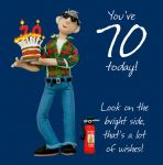 70th Male Birthday Card - Bright Side Fire Extinguisher One Lump Or Two