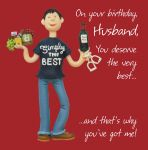 Birthday Card - Husband Simply the Best Funny One Lump Or Two