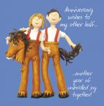 Wedding Anniversary Card - Other Half Horse Suit Husband Wife Funny One Lump Or Two