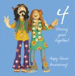 Wedding Anniversary Card - 4th Fourth 4 Years Flower One Lump Or Two