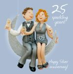 Wedding Anniversary Card - 25th Twenty Five 25 Years Silver One Lump Or Two