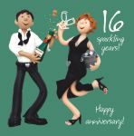 Wedding Anniversary Card - 16th Sixteenth 16 Years One Lump Or Two
