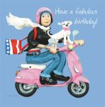 Birthday Card - Female Funny Humour Fabulous Pink Moped One Lump Or Two