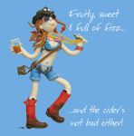 Birthday Card - Female Fruity Sweet Fizz Cider Funny Humour One Lump Or Two