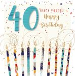 40th Birthday Card - Male Candles - Jupiter - Talking Pictures