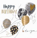 Birthday Card - Black & Gold Balloons - Manuka Talking Pictures