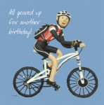 Birthday Card - Funny Humour All Geared Up Cycling One Lump Or Two