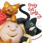 Birthday Card - Female Funny Crazy Cat Lady Headshots One Lump Or Two