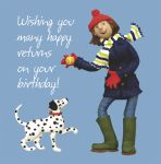 Birthday Card - Funny Humour Many Happy Returns Dalmatian Dog One Lump Or Two