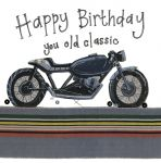 Birthday Card - Old Classic Motorbike - Sparkle - Alex Clark
