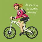 Birthday Card - Female - Funny Humour All Geared Up Cycling One Lump Or Two