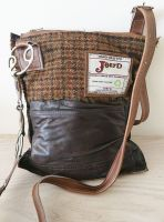 Wilkie Snaffle Beval Bit Dark Brown Leather & Brown Tweed Handbag - Joey D