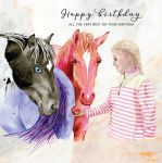Happy Birthday Card - Horses & Girl