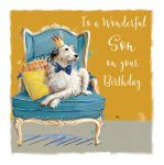 Birthday Card - Wonderful Son - Dog - The Wildlife Ling Design