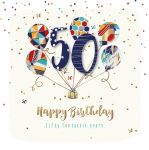 50th Birthday Card - Male Balloons - Jupiter - Talking Pictures