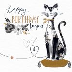Birthday Card - Black & Gold Cat Talking Pictures