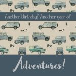 Birthday Card - 4x4 Land Rover - Adventures - Arty Penguin