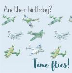 Birthday Card - Vintage Planes Spitfire - Time Flies - Arty Penguin