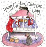 Christmas Card - Crazy Cat Lady - Sparkle - Alex Clark