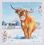Charity Christmas Card Highland Cow Glitter - Ling Design