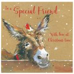 Christmas Card - Special Friend - Donkey Robin - The Wildlife Ling Design