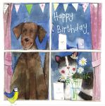 Birthday Card - Cat Dog Window - Alex Clark
