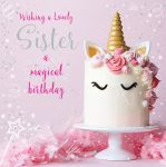 Birthday Card - Sister - Unicorn Cake - At Home Ling Design