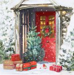 Christmas Card Pack - 5 Cards Xmas Delivery Front Door Tree Glittered Ling Design