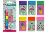 Flamingo Pineapple Eraser Set - 6 Rubbers