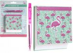 Flamingo Memo Pad & Pink Pen Stationary Set