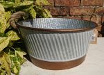 Zinc Metal Copper Detail Round Bowl Garden Planter with Rope Handles