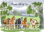 Greetings Card From All Of Us - Horses At Fence Equine Gathering - Gift Envy