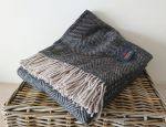 Herringbone Throw 100% Pure New Wool - Charcoal & Silver