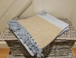 Grey with Gold Panels Eco Blanket Throw 100% Cotton