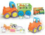 Farm Tractor & Trailer with Animals Push Along Toy