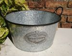 Zinc Metal Bowl Bucket Garden Planter Badge & Ear Handles