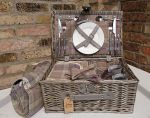 Grey Wicker Tweed Luxury Picnic Hamper - 2 Person