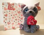 Blue French Bulldog Soft Toy - Heart I Love You - Keel - Valentines - Free Gift Bag