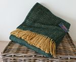 Herringbone Throw 100% Pure New Wool - Emerald Green & Mustard