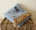 Herringbone Throw 100% Pure New Wool - Sea Blue & Beige