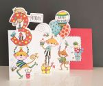 3rd Birthday Card - Girl Boy Kids - Monkey - 3 Fold Glitter Die-cut - Whippersnappers