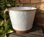Zinc Metal Copper Detail Large Garden Planter with Rope Handles