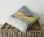Fishbone 2 Stripe Throw 100% Pure New Wool Grey & Yellow