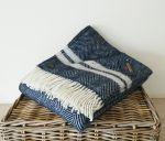 Fishbone 2 Stripe Throw 100% Pure New Wool Navy Blue & Silver