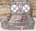 Grey Wicker Tweed Luxury Picnic Hamper - 4 Person